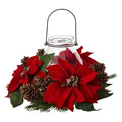 nearly natural Artificial Poinsettia Centerpiece & Candleholder