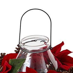 nearly natural Artificial Poinsettia Centerpiece & Candleholder