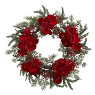 nearly natural Artificial Orchid & Pine Wreath