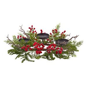nearly natural Artificial Berry Centerpiece & Candleholder