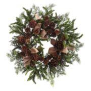 nearly natural Artificial Pine & Burlap Wreath