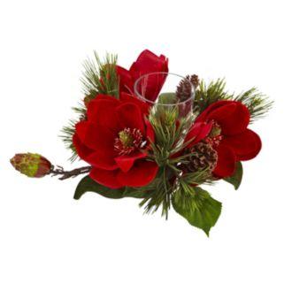 nearly natural Artificial Magnolia Centerpiece & Candleholder