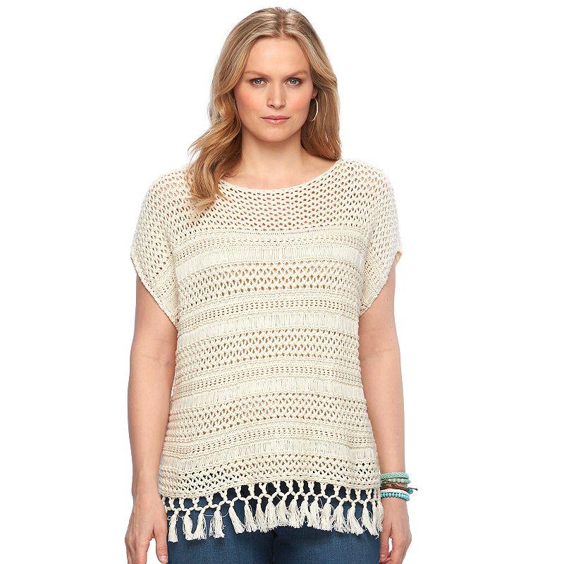 Plus Size Chaps Crochet Boatneck Poncho Sweater