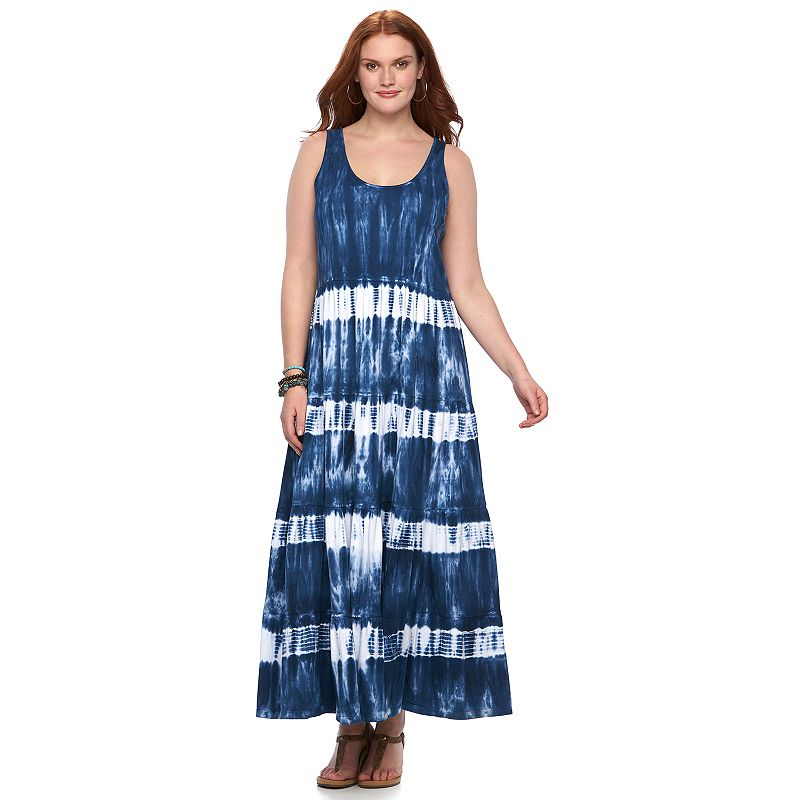 Plus Size Chaps Tie-Dye Tiered Maxi Dress