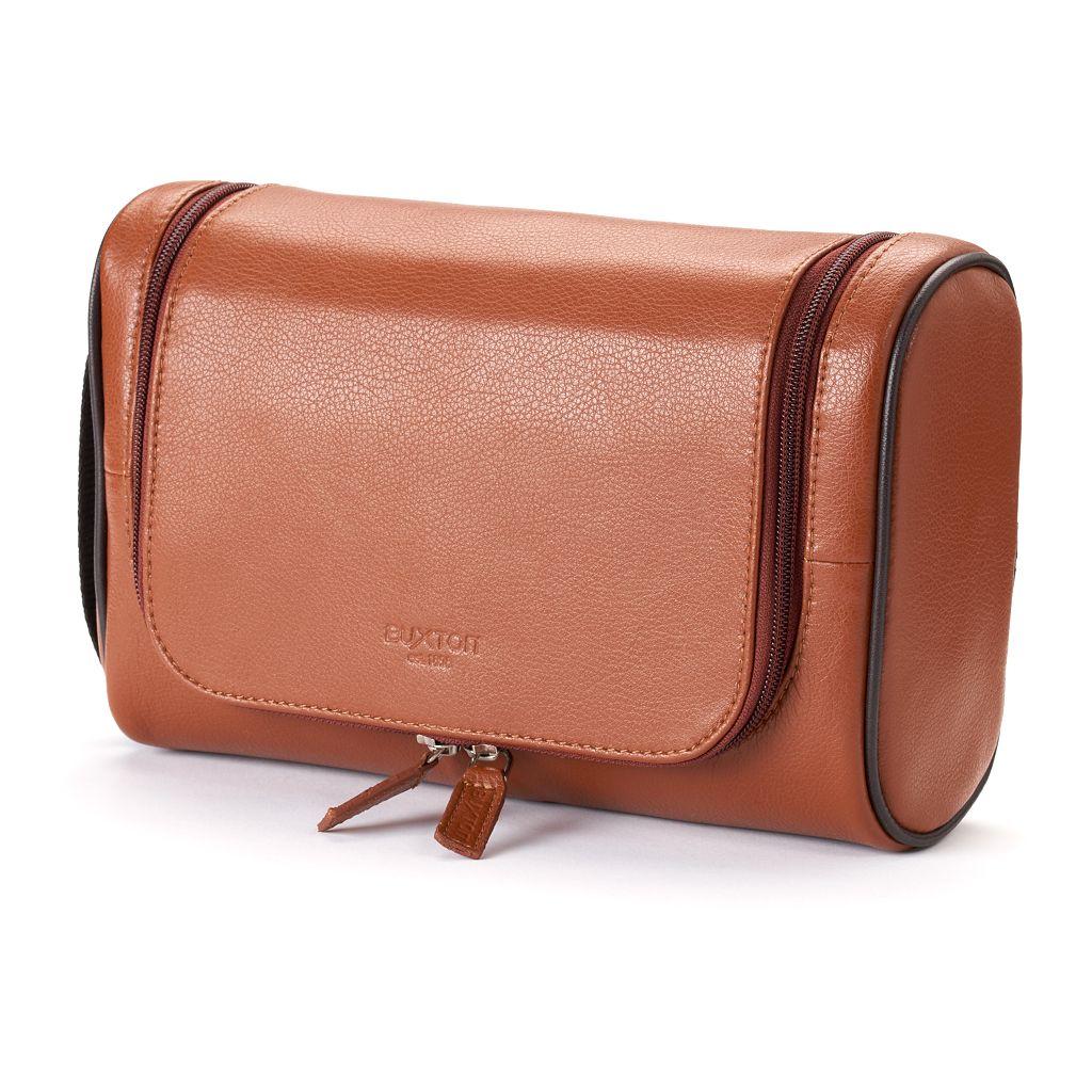 Buxton Addison U-Zip Hanging Leather Travel Kit