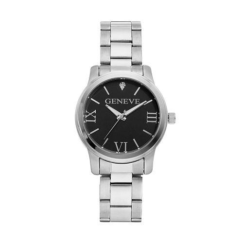 Unisex Geneve Stainless Steel Diamond Watch