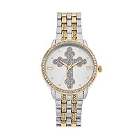 Women's Cross Crystal Two Tone Watch