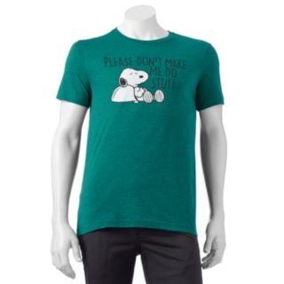 "Men's Peanuts Snoopy ""Please Don't Make Me Do Stuff"" Tee"