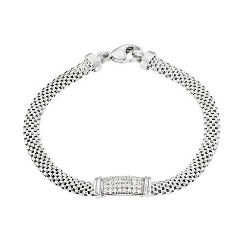 Cubic Zirconia Sterling Silver Mesh Bracelet
