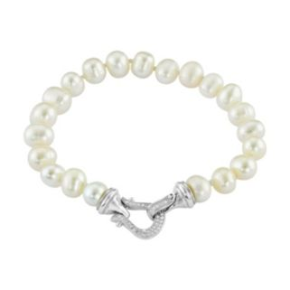 Sterling Silver Freshwater Cultured Pearl & Lab-Created White Sapphire Bracelet