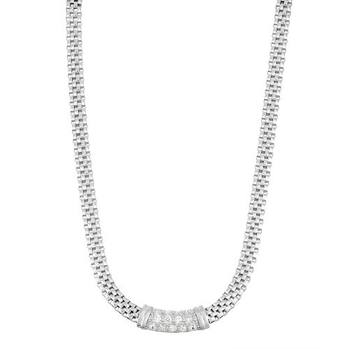 Cubic Zirconia Sterling Silver Mesh Necklace
