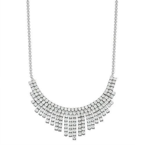 Sterling Silver Cubic Zirconia Fringe Necklace