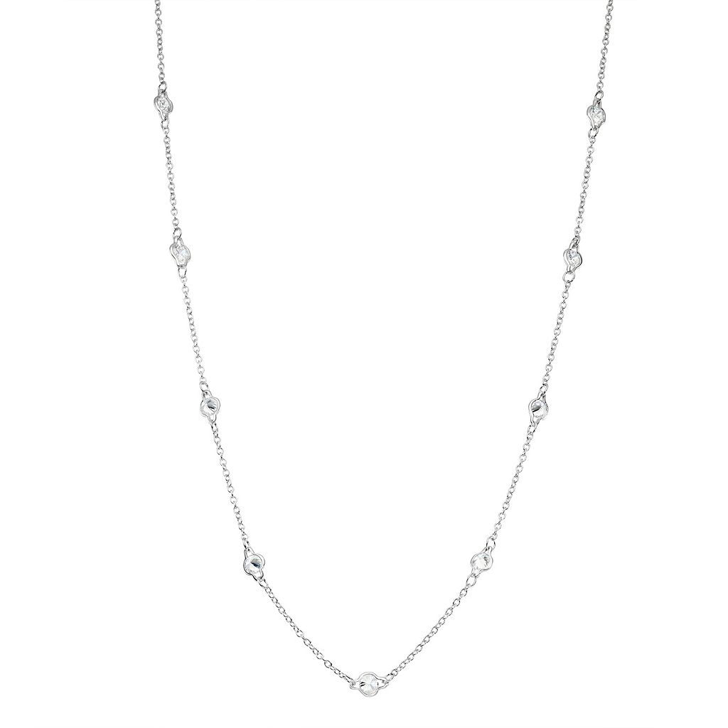 Sterling Silver Cubic Zirconia Long Station Necklace