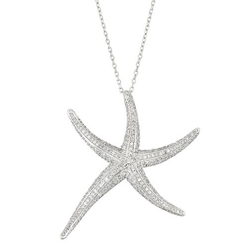 Sterling Silver Cubic Zirconia Starfish Pendant Necklace