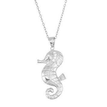 Sterling Silver Cubic Zirconia Seahorse Pendant Necklace