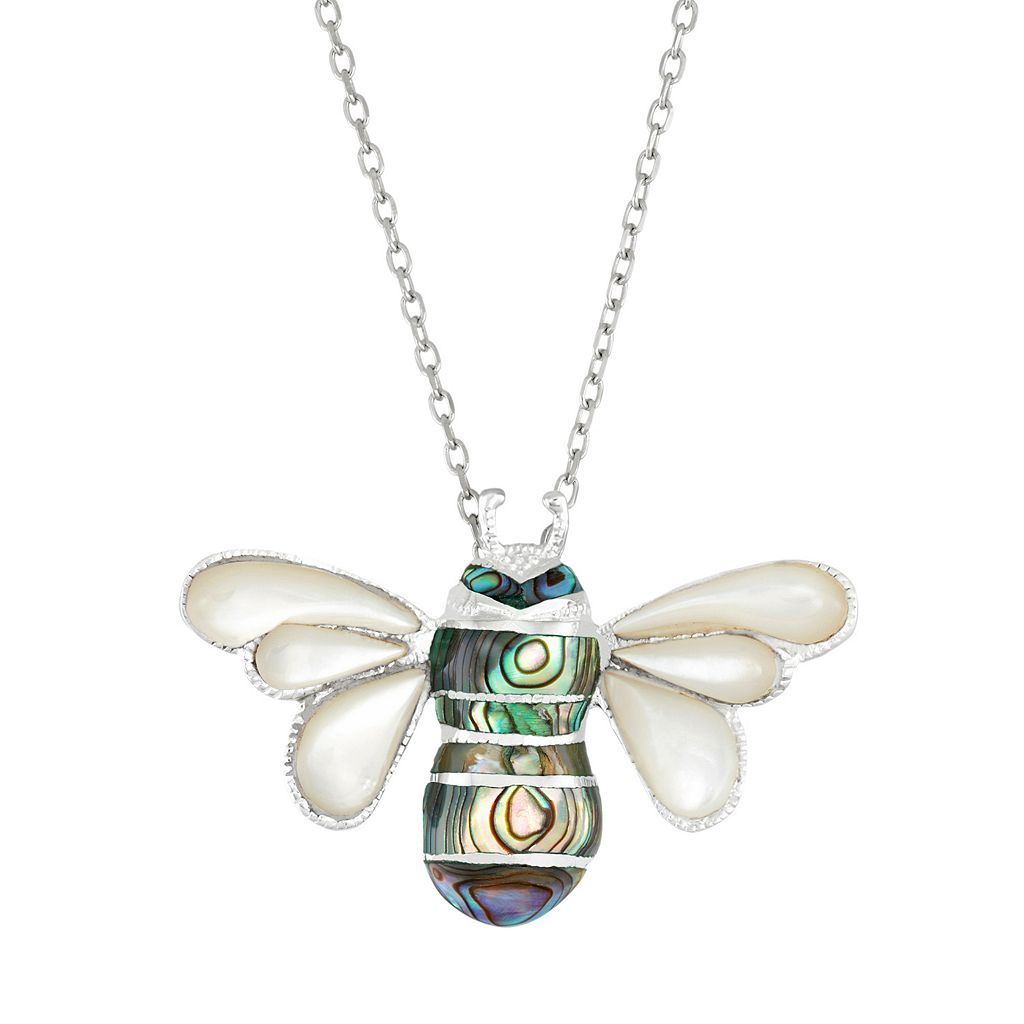 Sterling Silver Mother-of-Pearl & Abalone Bee Pendant Necklace