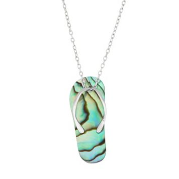 Sterling Silver Abalone Flip-Flop Pendant Necklace