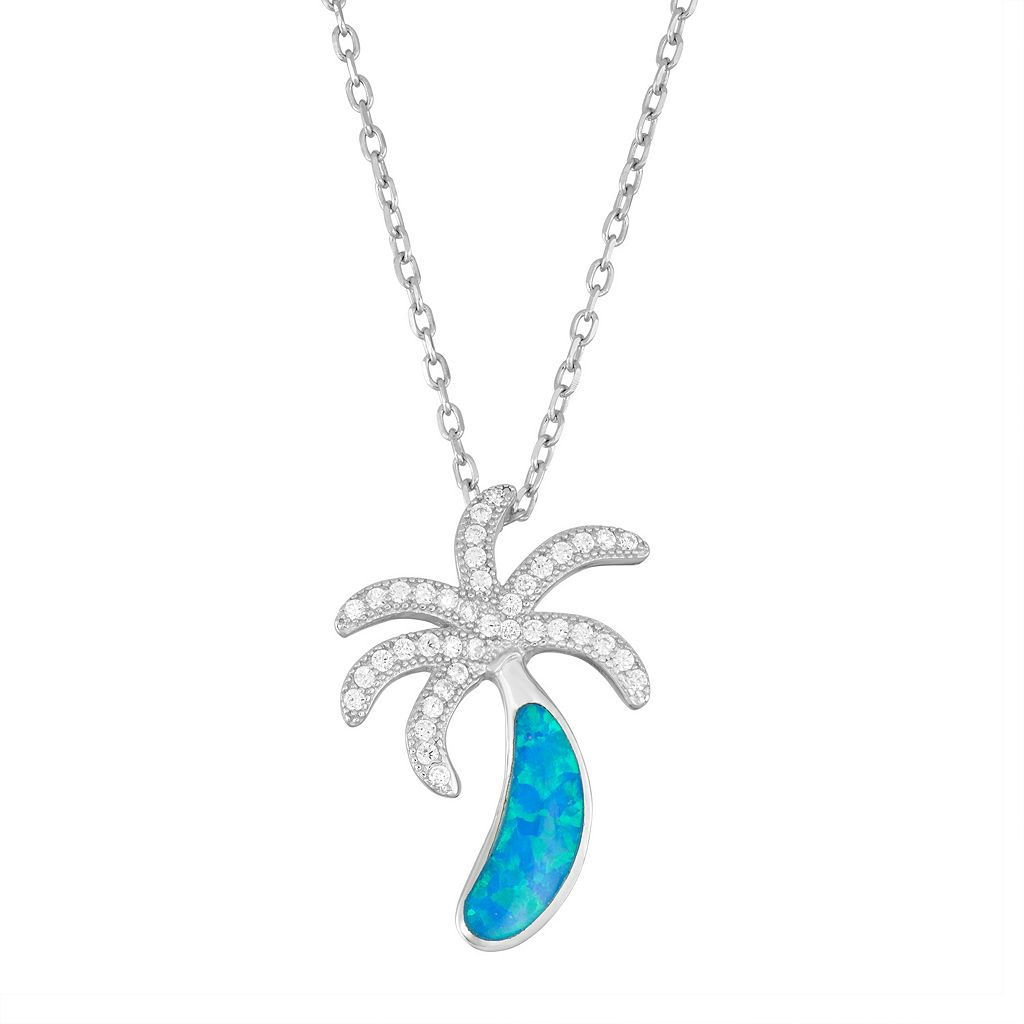 Sterling Silver Lab-Created Blue Opal & Cubic Zirconia Palm Tree Pendant Necklace
