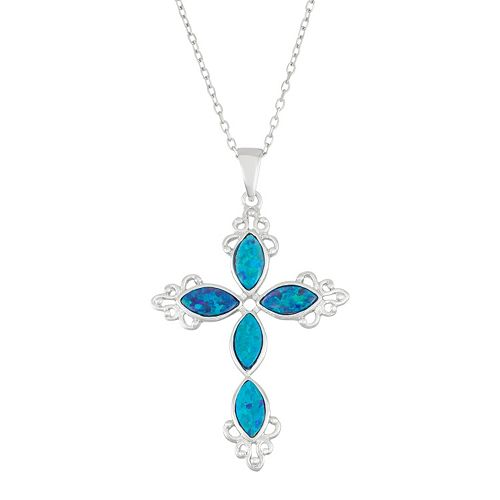 Sterling Silver Lab-Created Blue Opal Cross Pendant Necklace