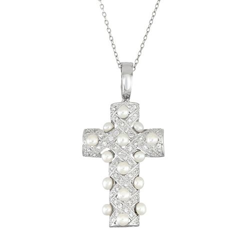Sterling Silver Cubic Zirconia & Freshwater Cultured Pearl Cross Pendant Necklace