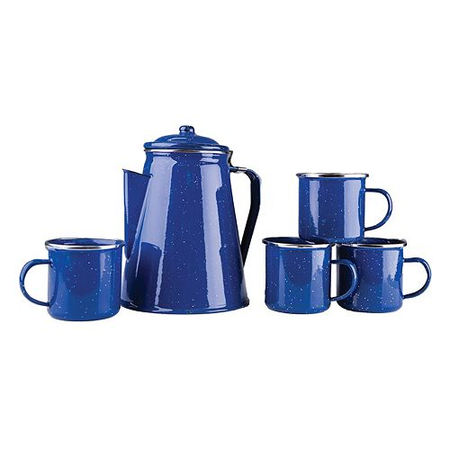 Stansport Enamel 8-Cup Coffee Percolator & Mug Set