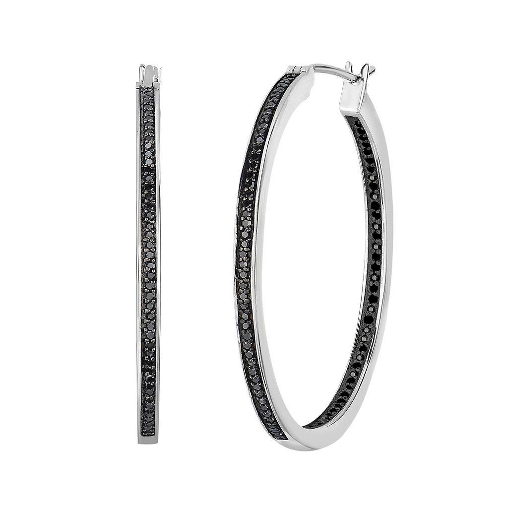 Sterling Silver 1/4 Carat T.W. Black Diamond Inside-Out Hoop Earrings