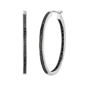 Sterling Silver 1/4 Carat T.W. Black Diamond Inside-Out Hoop Earrings