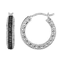 Sterling Silver 1/2 Carat T.W. Black Diamond Hoop Earrings