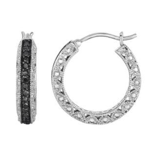 Sterling Silver 1/2 Carat T.W. Black Diamond Hoop Earrings