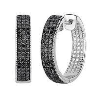 Sterling Silver 1/2 Carat T.W. Black Diamond Inside-Out Hoop Earrings