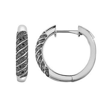 Sterling Silver 1/2 Carat T.W. Black Diamond Striped Hoop Earrings