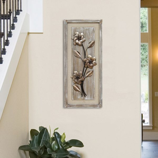 Stratton Home Decor Floral Metal Wood Panel Wall Art