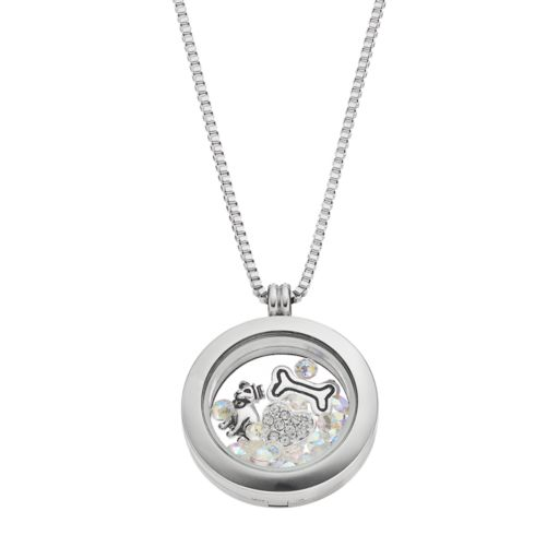 Blue La Rue Stainless Steel 1-in. Round Dog Charm Locket