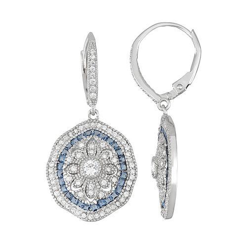 Sterling Silver Cubic Zirconia Flower Drop Earrings