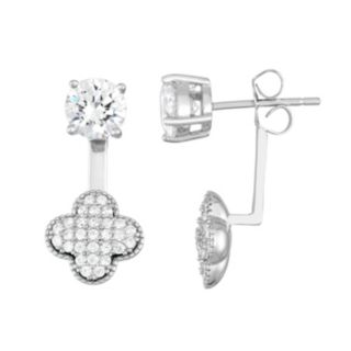 Sterling Silver Cubic Zirconia Front-Back Clover Drop Earrings