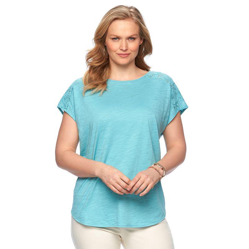 Plus Size Chaps Lace-Shoulder Slubbed Poncho Top
