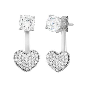 Sterling Silver Cubic Zirconia Front-Back Heart Drop Earrings