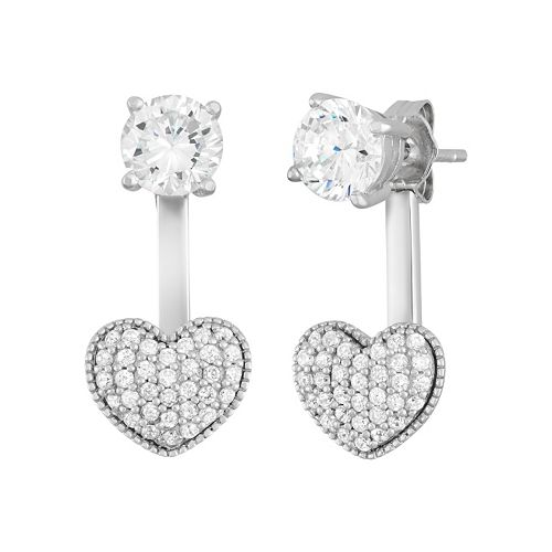 Sterling Silver Cubic Zirconia Front-Back Heart Drop Earrings