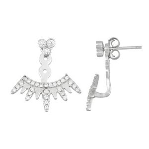 Sterling Silver Cubic Zirconia Crown Ear Jacket Earrings