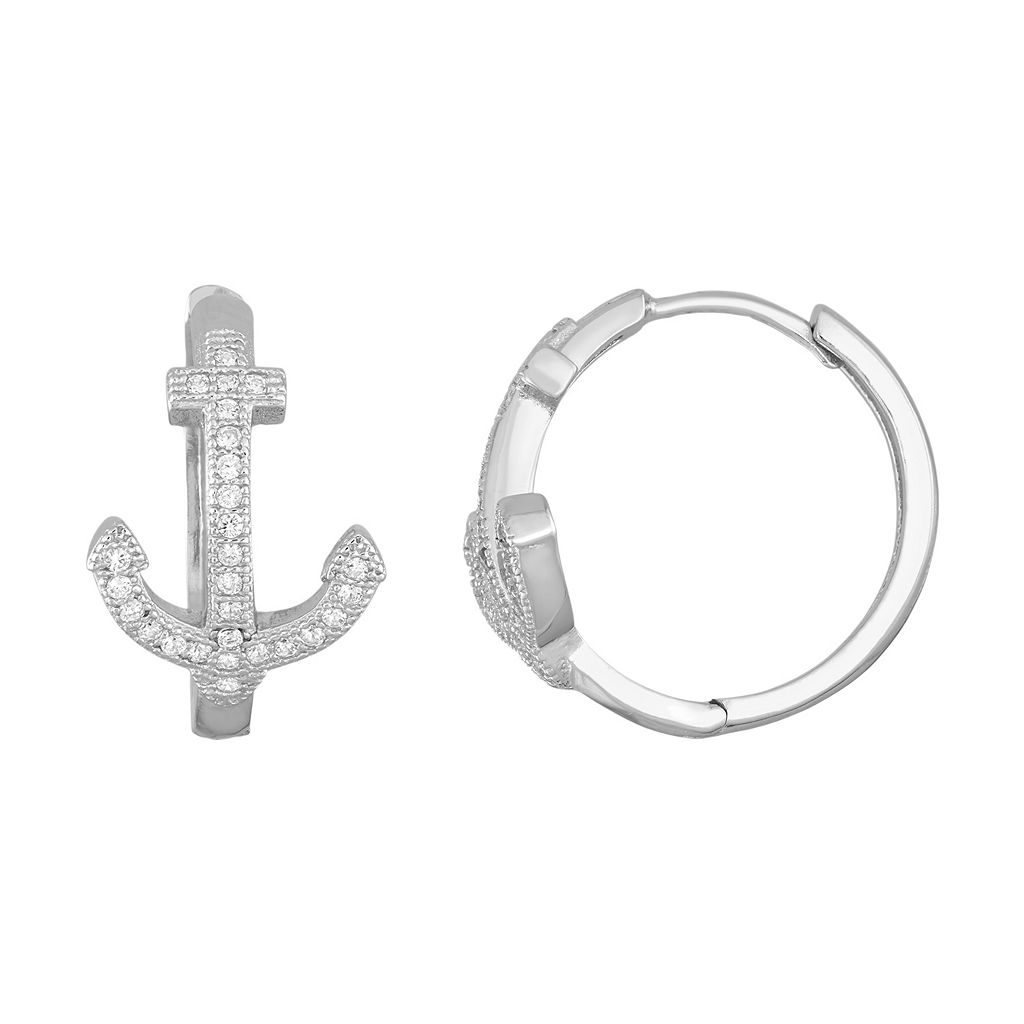 Sterling Silver Cubic Zirconia Anchor Hoop Earrings