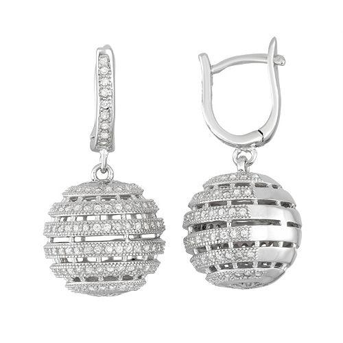 Sterling Silver Cubic Zirconia Ball Drop Earrings