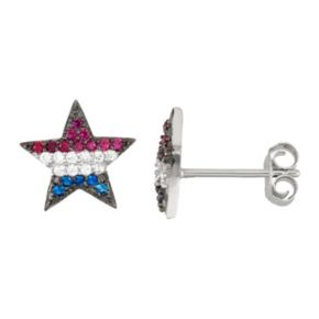Sterling Silver Cubic Zirconia, Lab-Created Blue Spinel & Pink Sapphire Star Stud Earrings