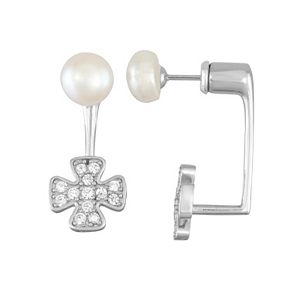Sterling Silver Freshwater Cultured Pearl & Cubic Zirconia Front-Back Drop Earrings