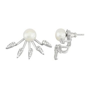 Sterling Silver Freshwater Cultured Pearl & Cubic Zirconia Front-Back Earrings