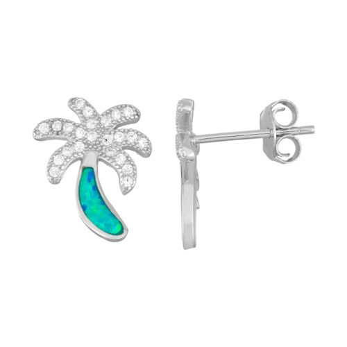 Sterling Silver Cubic Zirconia & Lab-Created Blue Opal Palm Tree Stud Earrings