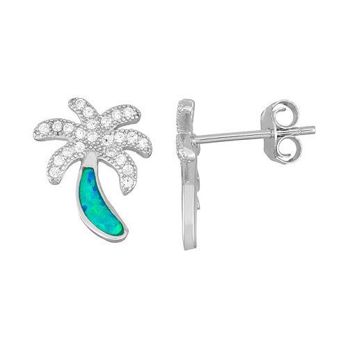 Sterling Silver Cubic Zirconia & Lab-Created Blue Opal Palm Tree Stud Earrings