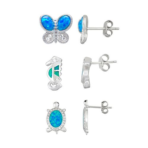 Sterling Silver Lab-Created Blue Opal & Cubic Zirconia Stud Earring Set