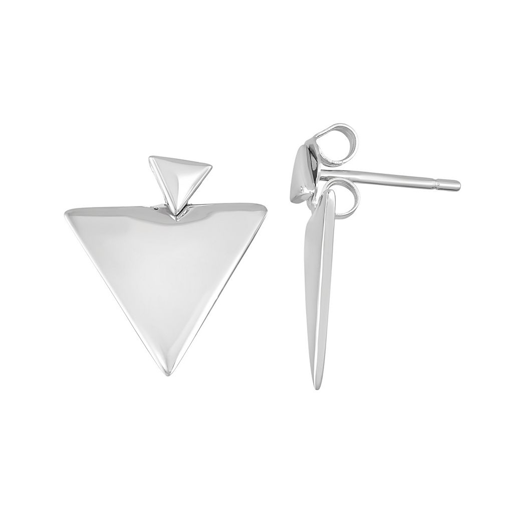 Sterling Silver Front-Back Triangle Drop Earrings
