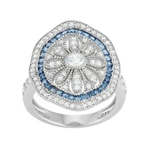 Sterling Silver Blue Glass & Cubic Zirconia Flower Ring