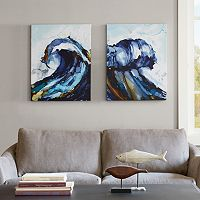 Madison Park Liquid Waves Gel Coat Canvas 2 pc Wall Art Set